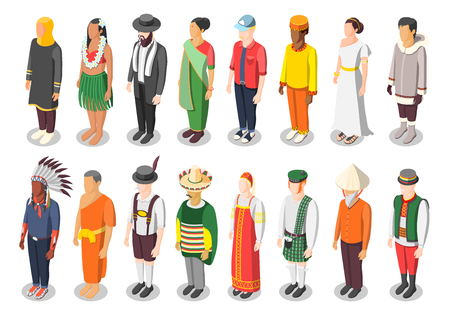 Multinational world culture isometric icons set of sixteen characters in colorful native national costumes isolated vector illustration