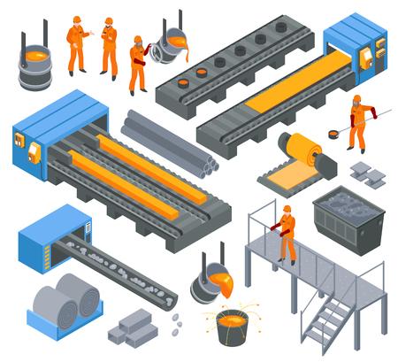 Insieme di elementi isometrico di produzione di industria metallurgica di alluminio del ferro d'acciaio con l'illustrazione di vettore della laminazione e del modanatura a caldo dei lavoratori Vettoriali
