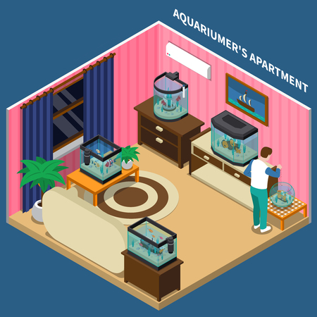 Aquarium composition with aquariumists apartment symbols on blue background isometric vector illustration