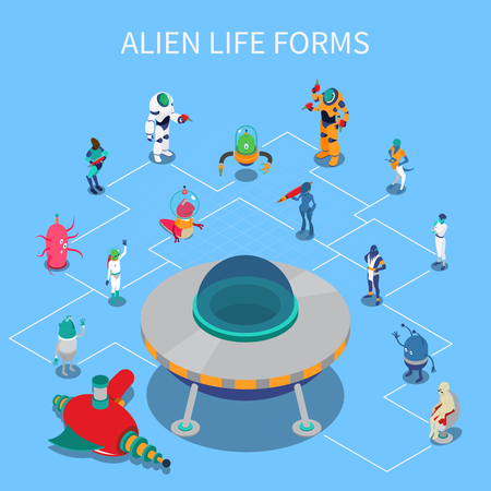 Isometric flowchart with various colorful alien life forms on blue background 3d vector illustration Ilustração