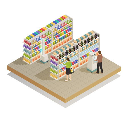 Automatisches Einkaufssystem mit isometrischer Zusammensetzungsvektorillustration der intelligenten Korb- und Selbstbedienungsroboterunterstützungstechnologie Standard-Bild - 96742577