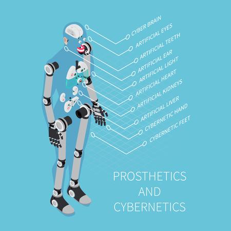 Composizione nella cibernetica e nella protesi con i simboli di sanità sull'illustrazione isometrica di vettore del fondo blu Vettoriali