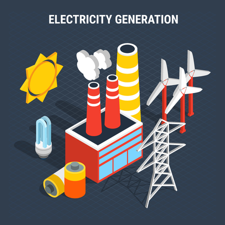 Electricity isometric colored composition with isolated elements of electrical and supply and production of electricity vector illustration