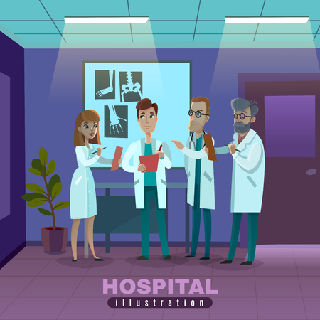 Group of doctors in white robes with clipboards during x-ray examination in hospital vector illustration Illustration