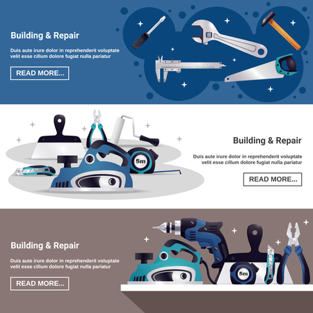 Building construction renovation, woodwork repair, carpentry top tools. 3 horizontal web page, banners realistic design. isolated vector illustration. Illustration