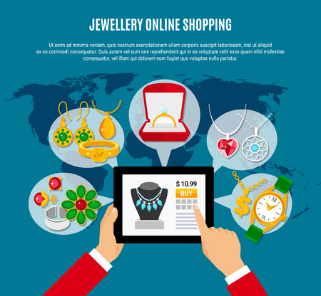 Online jewelry shopping composition with gadget in hands, female and male decorations on blue background vector illustration.