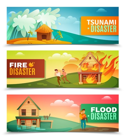 Natural disasters set of horizontal banners with tsunami, burning house, rescue during flood isolated vector illustration. Illustration