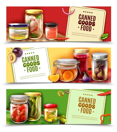 Canned goods horizontal banners with fish products, eggs, fruit and vegetables in glass jars isolated vector illustration Illustration