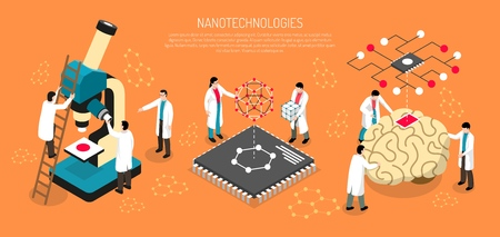Nano technologies isometric composition on orange background with scientists, human brain with micro chip horizontal vector illustration. Ilustrace