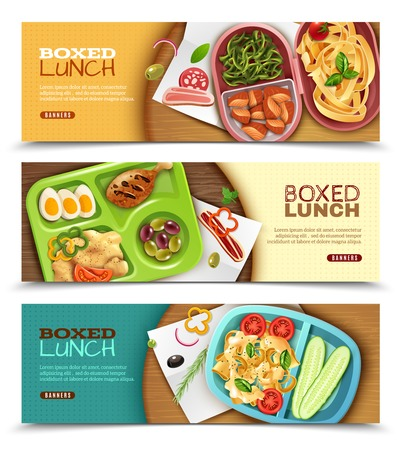 Set of horizontal banners with boxed lunch with various ingredients on wooden table isolated vector illustration. Illustration