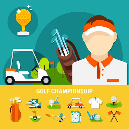 Golf championship concept with sports equipment icons on yellow background, playful field for tournament isolated vector illustration