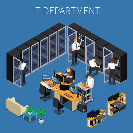 Isometric composition with system administrators and technicians working at information technology engineering department 3d vector illustration. Vettoriali