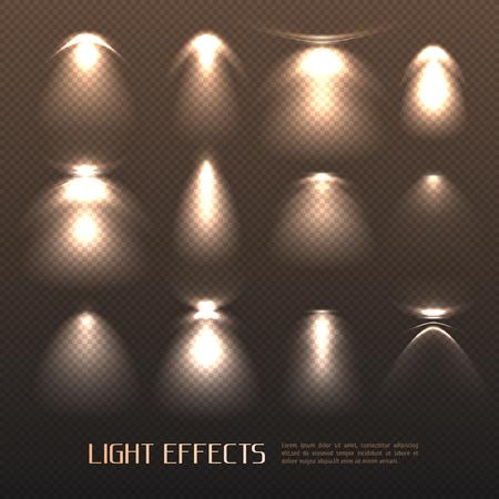 透明な背景分離ベクトルイラストに電気ランプから様々な強度の光効果のセット