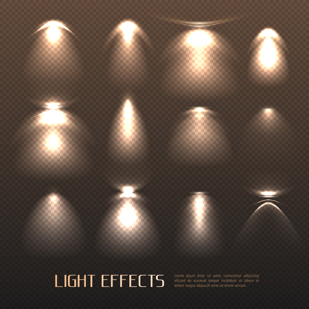 Set of light effects of various intensity from electric lamps on transparent background isolated vector illustration
