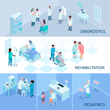 Hospital staff horizontal banners with diagnostics rehabilitation pediatrics isometric  compositions vector illustration