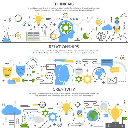 Mental concept set of horizontal flat linear banners with thinking process, relationships, creativity isolated vector illustration