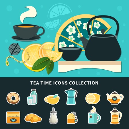 Tea time icons collection with cups, pots, fan, sugar, milk, lemon and green leaves isolated vector illustration