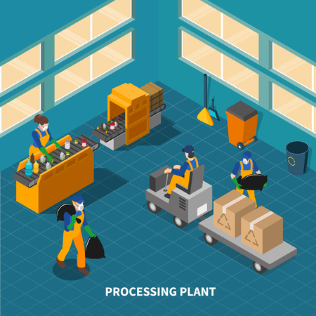 Garbage isometric composition with shop floor interior of waste recycling processing plant with machines and people vector illustration Illustration