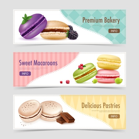 Three horizontal macaroons banners set with realistic macaroon goods and berries images text and info button vector illustration