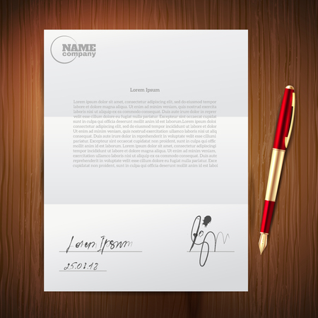 Realistic and colored business pen paper composition with ballpoint pen signature on important documents vector illustration.