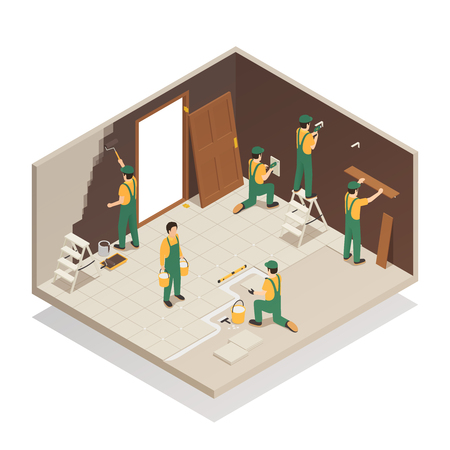 Home renovation remodeling repair isometric composition with workers tiling floor replacing door and painting walls vector illustration Illustration