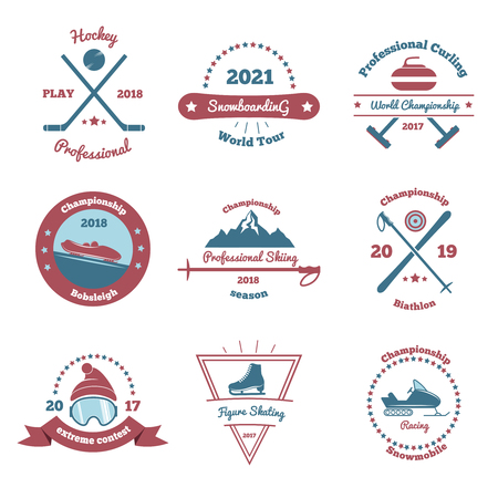 Winter sports set of color emblems with extreme contest, bobsleigh and biathlon championships, snowboarding isolated vector illustration