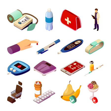 Diabetes control set of isometric icons with doctor, medical measuring devices, drugs, diet food isolated vector illustration Çizim