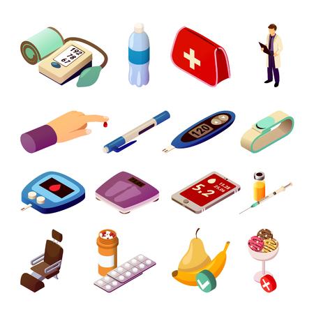 Ensemble de contrôle du diabète d'icônes isométriques avec médecin, appareils de mesure médicaux, médicaments, illustration vectorielle de régime alimentaire isolé