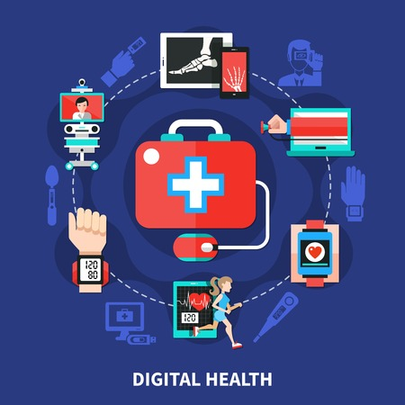 Digital healthcare symbols flat circle composition with mobile medical devices measuring body functions and parameters vector illustration
