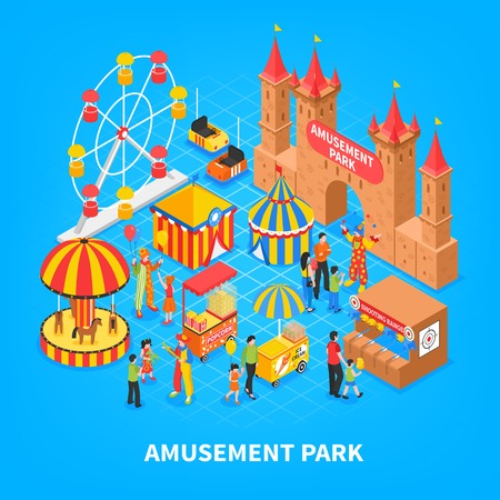 Amusement park cartoon background with cars for kids, medieval castle, carousel, Ferris wheel. Isometric decorative elements vector illustration. 일러스트