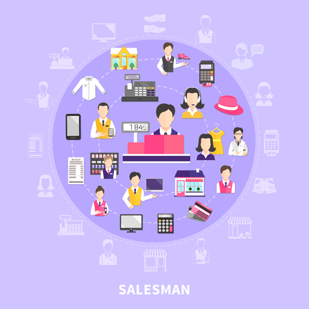 Salesman collection of isolated emoji style icons in round composition with items human characters and silhouettes vector illustration