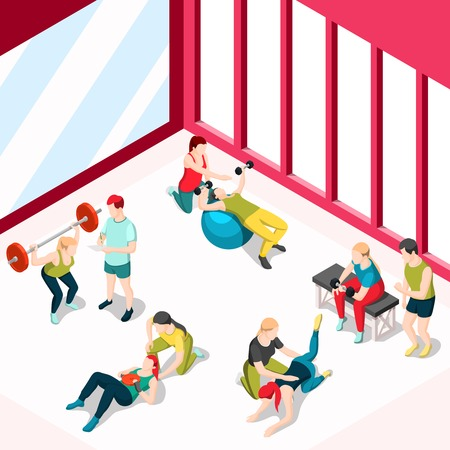 Personal sport trainer, isometric design concept with people training in gym using sport equipment. Vector illustration.