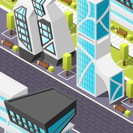 Fragment of city pedestrian zone with tile pavement and abstract buildings in futuristic design isometric vector illustration Çizim