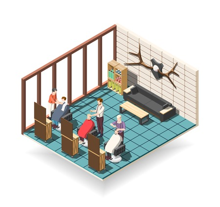Hair salon for men isometric composition with stylists and customers, professional equipment, waiting area vector illustration