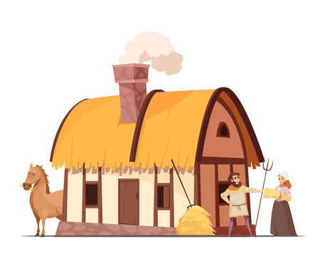 Medieval peasant family household with hatched roof house backyard horse and stack of hay cartoon vector illustration Illusztráció