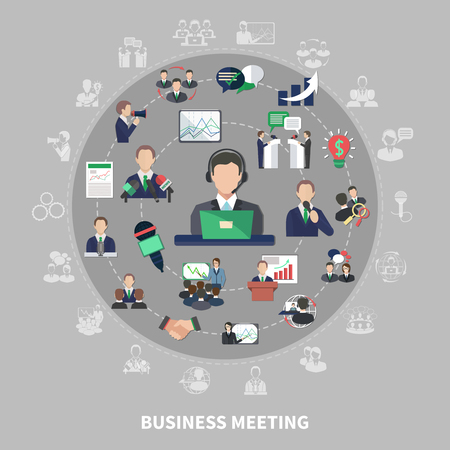 Business meeting composition with isolated colourful icons and silhouette pictograms of commercial ideas meetings and collaborations vector illustration