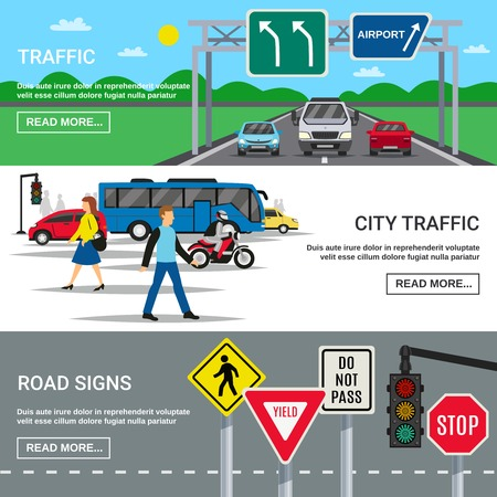 Traffic 3 horizontal banners webpage design with country and city roadways signboards symbols flat isolated vector illustration