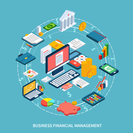Accounting isometric round composition of dollar signs dashed lines and icons with financial graphs and electronics vector illustration