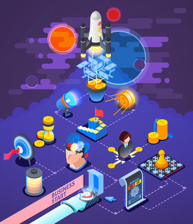 Successful startup business entrepreneurship strategy isometric composition poster with rocket launch target cash money reward vector illustration.