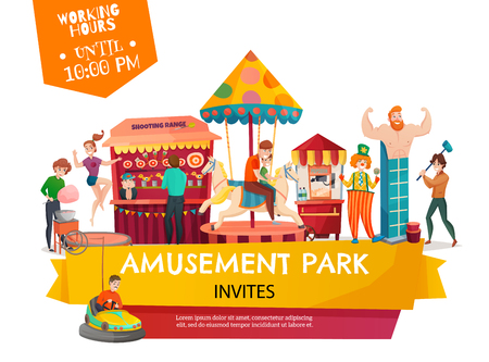People in amusement park poster with carousel shooting range cartoon circus tent clown cartoon icons vector illustration.