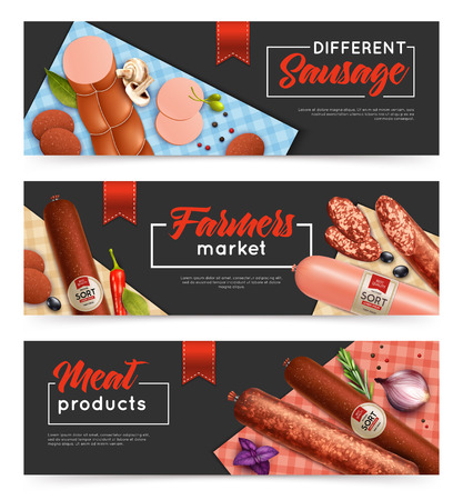 Realistic sausage horizontal banners set with shopping symbols isolated vector illustration. Illustration