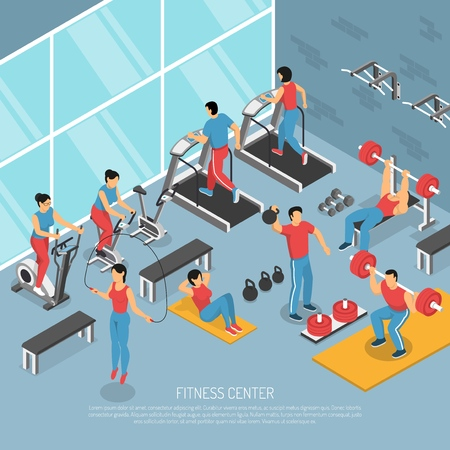 Fitness center interior with exercising people and equipment isometric poster with treadmills weights aerobic accessories vector illustration.
