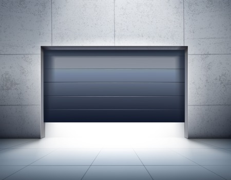 Garage realistic composition with grey tiled walls and floor and opening of dark shutter door, vector illustration.