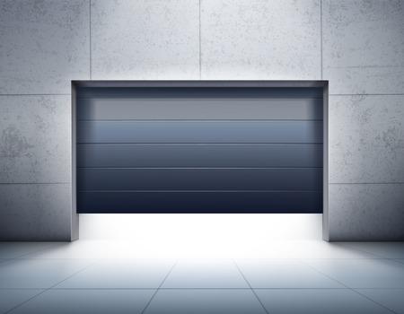 Realistyczna kompozycja garażu z szarymi kafelkami ścian i podłogą oraz otwarciem ciemnych drzwi żaluzjowych, ilustracji wektorowych.