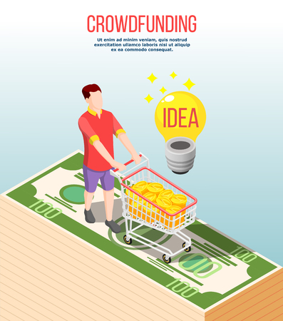 Crowdfunding isometric composition on gradient grey background with successful idea, man with trolley filled money, vector illusration