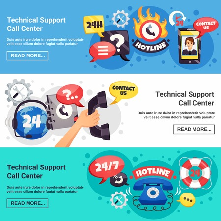 Technical customer support call center 24h online service 3 horizontal background banners webpage design isolated vector illustration