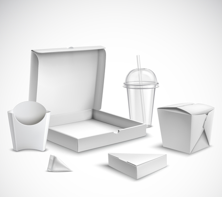 Fast food blank white packaging realistic templates set with clear plastic cup and pizza box vector illustration Banque d'images - 96838642