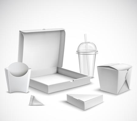 Snel voedsel lege witte verpakkende realistische die malplaatjes met duidelijke plastic kop en pizzadoos vectorillustratie worden geplaatst