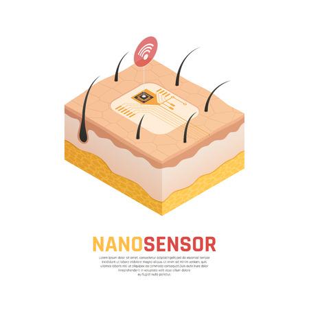 ナノテクノロジーベースの化学および生物学的センサー。カーボンナノチューブを検出する要素を有する等角素組成物、ベクトル図。