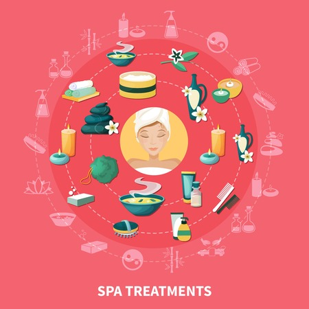Spa wellness resort treatments and services symbols. Circle composition with aromatherapy, stone massage, medicinal baths. Glat vector illustration.